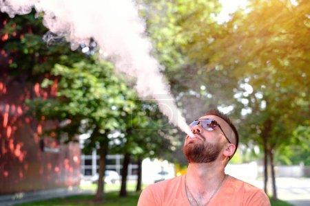 Man  smoke electronic cigarette