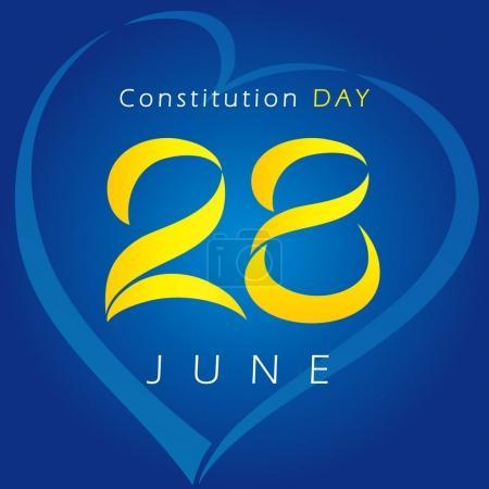 Ukrainian Constitution day vector greetings.