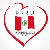 Peru Independence Day 28 july vector lettering banner background with national flag in heart