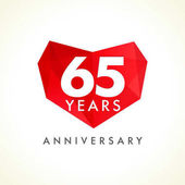 Anniversary 65 years old celebrating logotype with hearts Luxurious celebrating congratulating greetings stained glass numbers template Valentine's Day abstract emotional lovely isolated shape