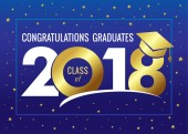 Graduating class of 2018 vector illustration Class of 2018 design graphics for decoration with golden colored for design cards invitations or banner