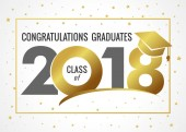 Graduating class of 2018 vector illustration Class of 2018 light design graphics for decoration with golden colored for design cards invitations or banner