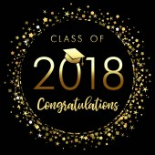 Class of 2018 graduation poster with gold glitter confetti Class of 2018 congratulations design graphics for decoration with golden colored for design cards invitations or banner