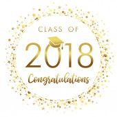 Graduating class of 2018 light vector illustration Class of 2018 design graphics for decoration with golden colored for design cards invitations or banner