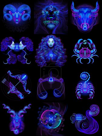 Illustration for Set of neon zodiac icons (astrology, astronomy). Horoscope signs as cartoon characters. Vector illustration on a black background - Royalty Free Image