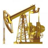 Detailed gold Oil pump pumpjack vector illustrations