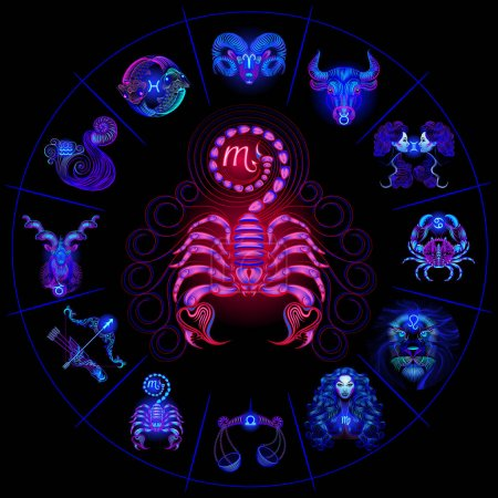 Illustration for Set Neon Zodiac Signs. Scorpio. Vector design element isolated on background. - Royalty Free Image