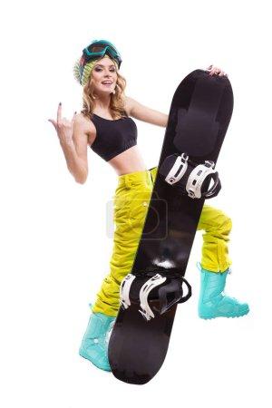 nice girl with snowboard