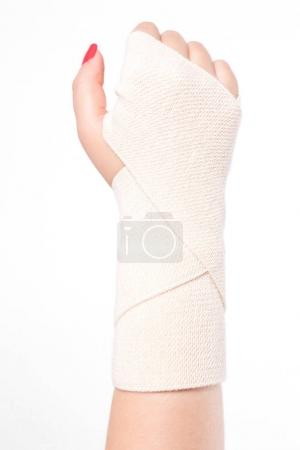 girl's hand with elastic bandage