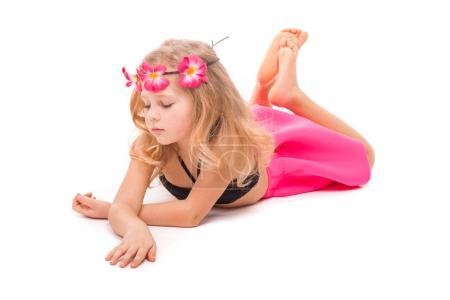 Girl in bikini and pink skirt