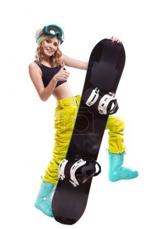 pretty sport girl with snowboard