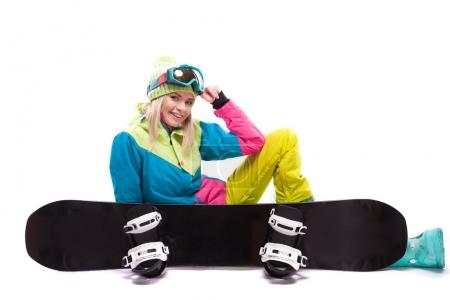 beautiful young woman with snowboard