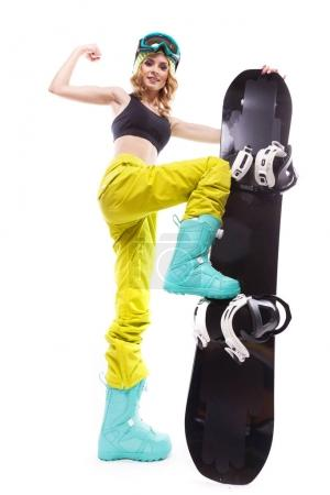 pretty sport girl with snowboard