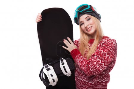 woman in red pullover with snowboard