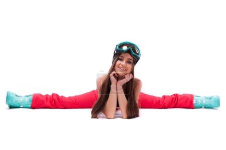 girl in ski suit does the splits