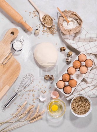 Photo for Recipe template with cooking ingredients for baking - Royalty Free Image