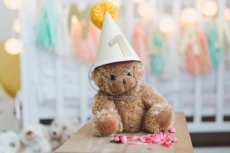 teddy bear wearing birthday hat