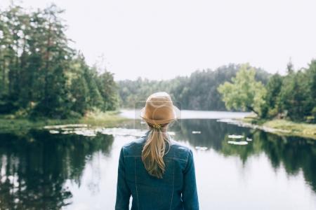 Photo pour Vue arrière de la jeune femme contemplant les paysages pittoresques du lac en Norvège - image libre de droit