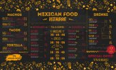 Mexican Food Restaurant menu template design flyer for promotion site banner