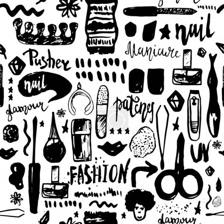 Illustration for Black Manicure tools hand drawn vector seamless pattern with lettering and grunge make up items. - Royalty Free Image