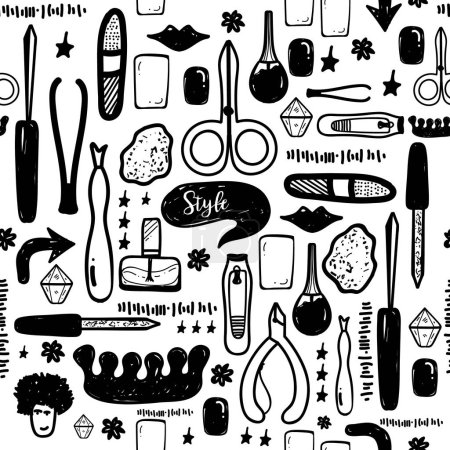 Illustration for Black Manicure tools hand drawn vector seamless pattern with lettering and hand drawn make up items. - Royalty Free Image