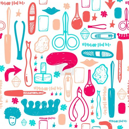 Illustration for Colorful Manicure tools hand drawn vector seamless pattern with lettering and hand drawn make up items. - Royalty Free Image