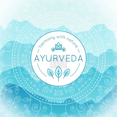 Illustration for Vector Ayurveda illustration with mountains landscape, ethnic patterns and sample text in light blue colors for use as a template of banner, backdrop or poster for ayurveda medicine center or product. - Royalty Free Image