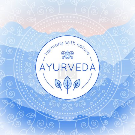 Illustration for Vector Ayurveda illustration with mountains landscape, ethnic patterns and sample text in blue colors for use as a template of banner, backdrop or poster for ayurveda medicine center or product. - Royalty Free Image