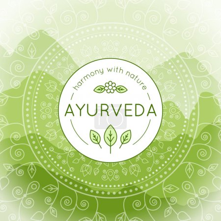 Illustration for Vector Ayurveda illustration with mountains landscape, ethnic patterns and sample text in green colors for use as a template of banner, backdrop or poster for ayurveda medicine center or product. - Royalty Free Image