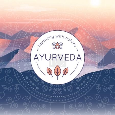 Illustration for Vector Ayurveda illustration with evening mountain landscape, ethnic patterns and sample text for use as a template of banner, backdrop or poster for ayurveda medicine center or product - Royalty Free Image