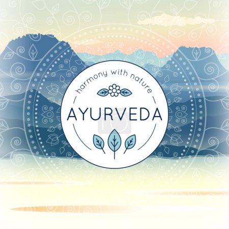 Vector Ayurveda illustration with morning mountain landscape, ethnic patterns and sample text