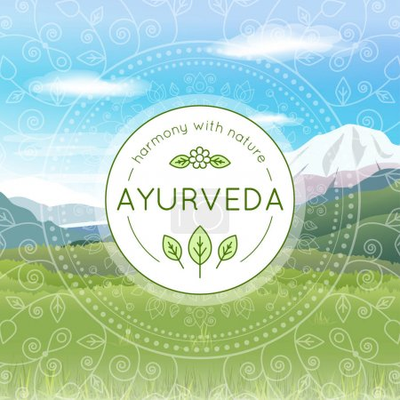 Illustration for Vector Ayurveda illustration with mountains landscape, ethnic patterns and sample text in a sunny day for use as a template of banner, backdrop or poster for ayurveda medicine center or product - Royalty Free Image