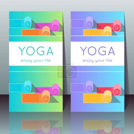Illustration for Vector yoga cards with yoga mats, sample text on a gradient background for use as a template of banner, poster for Yoga day, invitation for yoga center, studio or retreat - Royalty Free Image
