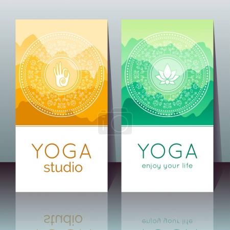Illustration for Vector yoga cards with mudra, lotus, mountain landscape, ethnic indian pattern and sample text for use as a template of banner, backdrop, poster, invitation for yoga center, studio or retreat - Royalty Free Image