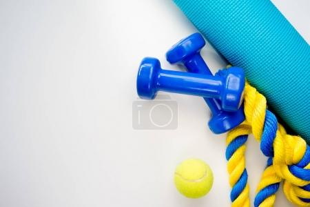 Sport, fitness, healthy lifestyle and objects conc...