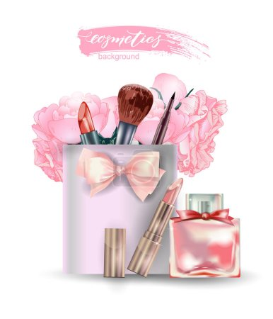 Beauty and cosmetics background. Beauty Concept. Use for advertising flyer, banner, leaflet. Template Vector.