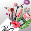 Beauty and cosmetics background. Summer sale Conce...