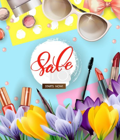 Spring sale concept. Cosmetics and fashion background with make up artist objects: lipstick, mascara, eyeliner, with flowering crocuses.Template vector.