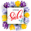 Постер, плакат: Spring sale concept Spring background with flowering crocuses Template vector