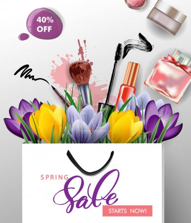 Spring sale concept. Spring background with flowering crocuses. Vector.