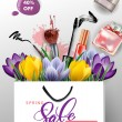 Постер, плакат: Spring sale concept Spring background with flowering crocuses Vector