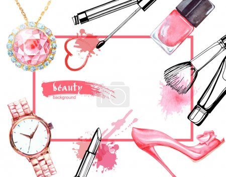 Illustration for Watercolor Beauty and cosmetics background. Make up artist objects:Jewelry, women's watches, shoes, nail Polish. Vector beauty background. - Royalty Free Image
