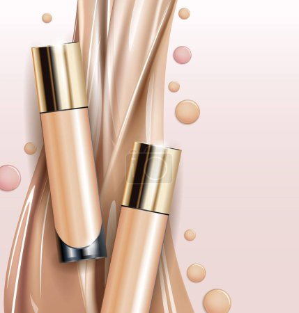 Tone skin cream bottle. Glamorous foundation ads, glass bottle with foundation.Elegant ads for design, 3d Vector