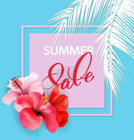 Illustration for Summer sale Concept. Summer background with tropical flowers. Template Vector. - Royalty Free Image
