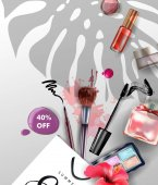 Beauty and cosmetics background Summer sale Concept Use for advertising flyer banner leaflet Vector