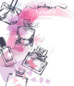 Beautiful perfume bottle on watercolor background Beautiful and fashion background Vector