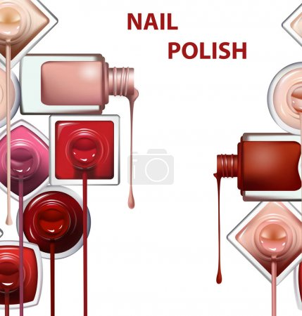 Close up of nail polish flow on white background with clipping path. Vector