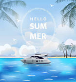 Summer holidays vector illustration. Beach, beautiful pleasure boat, palm trees beautiful panoramic sea view, Vector.