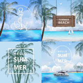 Set of banners summer, sea, travel. Summer holidays vector illustration. Beach,beautiful sailboat,pleasure boat, palm trees beautiful panoramic sea view, Vector.