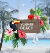 Summer holidays vector illustration. Beach, beautiful sailboat, palm trees, beautiful panoramic sea view, Vector.